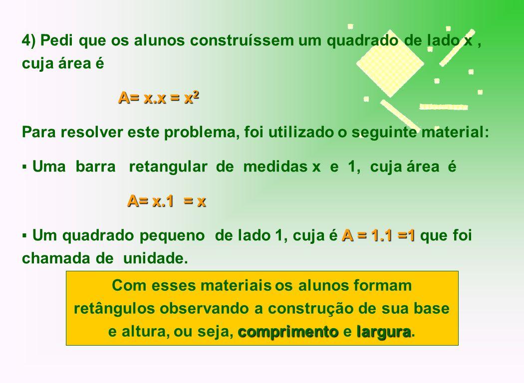 4) Pedi que os alunos construíssem um quadrado de lado x, cuja área é A= x.x = x 2 Para resolver este problema, foi utilizado o seguinte material: Uma
