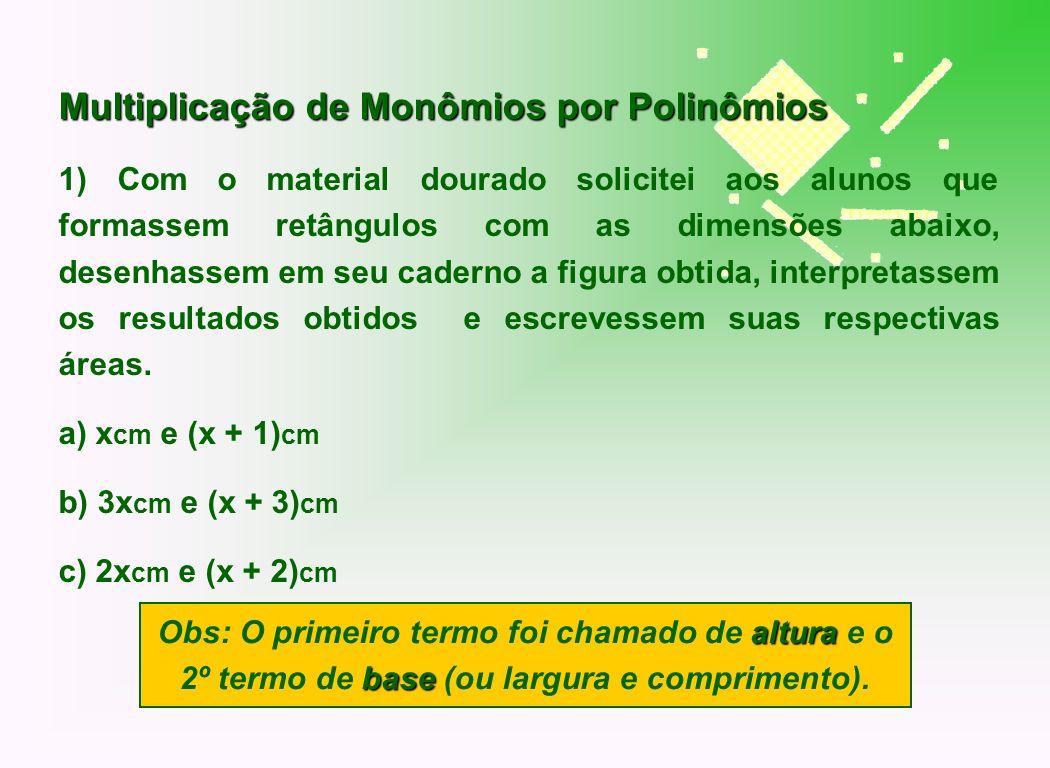 Multiplicação de Monômios por Polinômios 1) Com o material dourado solicitei aos alunos que formassem retângulos com as dimensões abaixo, desenhassem
