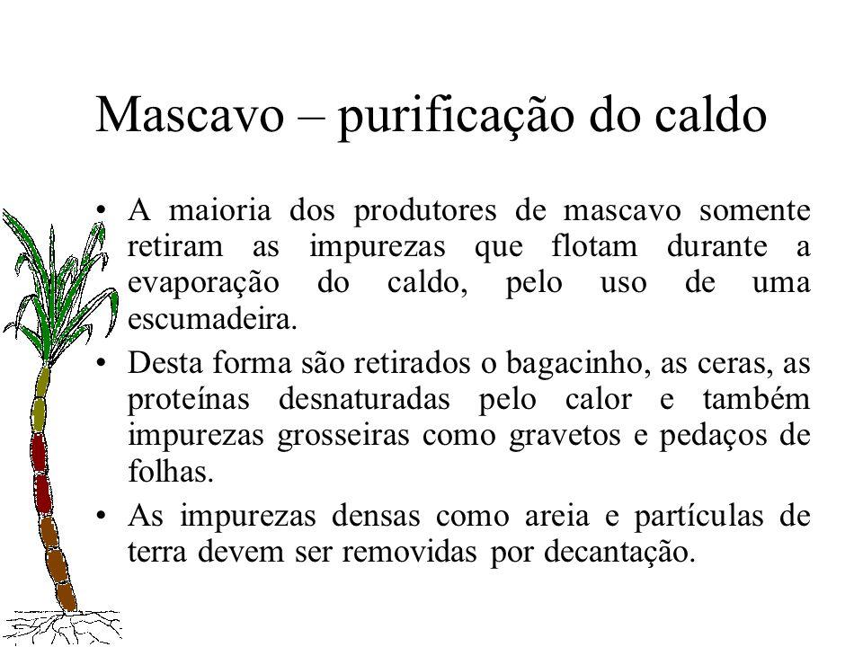 Mascavo – purificação do caldo A maioria dos produtores de mascavo somente retiram as impurezas que flotam durante a evaporação do caldo, pelo uso de