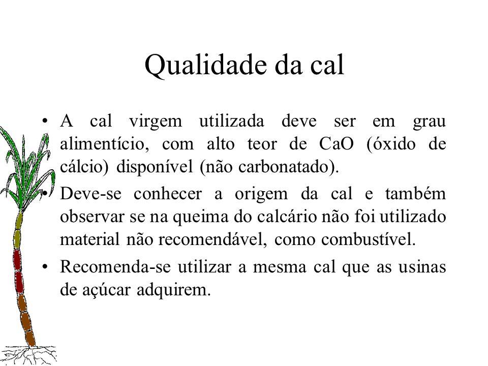 Qualidade da cal A cal virgem utilizada deve ser em grau alimentício, com alto teor de CaO (óxido de cálcio) disponível (não carbonatado). Deve-se con