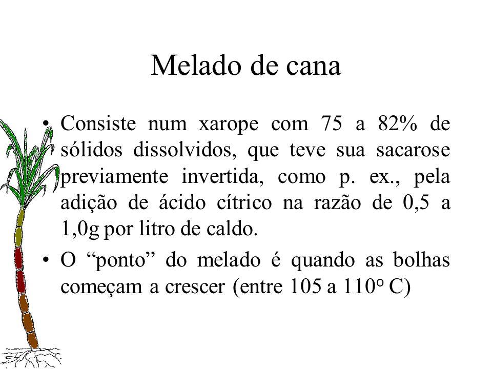 Melado de cana Consiste num xarope com 75 a 82% de sólidos dissolvidos, que teve sua sacarose previamente invertida, como p. ex., pela adição de ácido