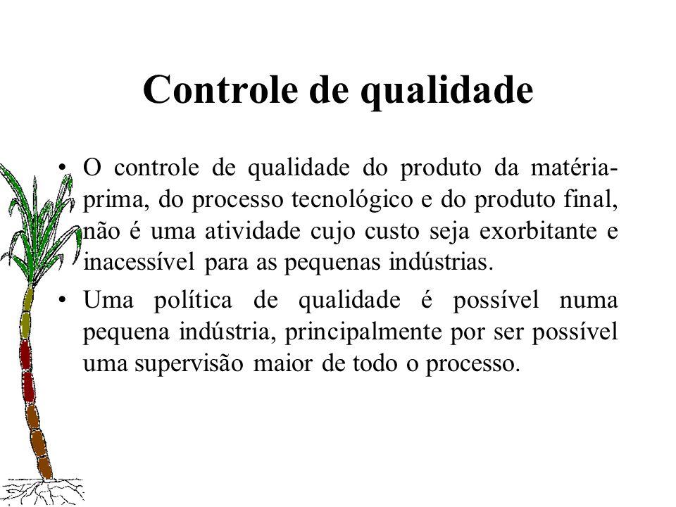 Controle de qualidade O controle de qualidade do produto da matéria- prima, do processo tecnológico e do produto final, não é uma atividade cujo custo