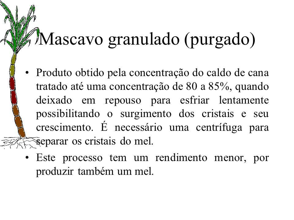 Mascavo granulado (purgado) Produto obtido pela concentração do caldo de cana tratado até uma concentração de 80 a 85%, quando deixado em repouso para