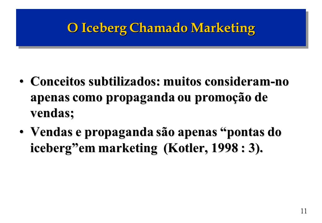 11 Conceitos subtilizados: muitos consideram-no apenas como propaganda ou promoção de vendas;Conceitos subtilizados: muitos consideram-no apenas como