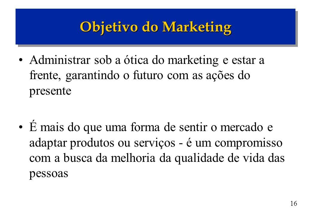 16 Administrar sob a ótica do marketing e estar a frente, garantindo o futuro com as ações do presente É mais do que uma forma de sentir o mercado e a
