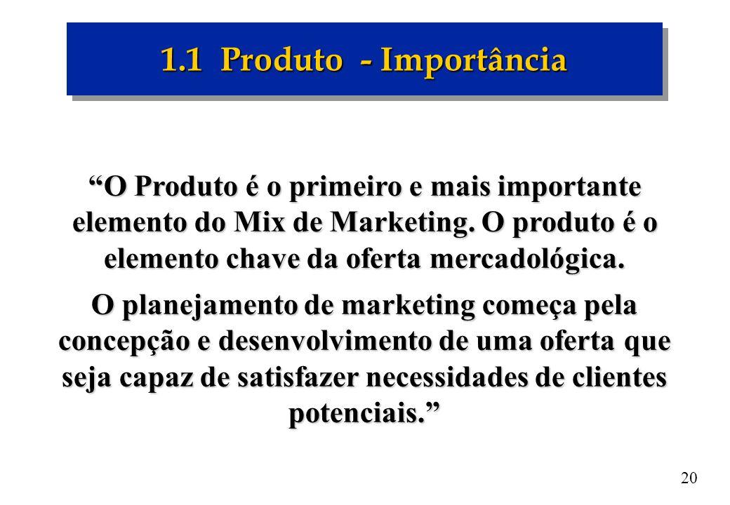 20 1.1 Produto - Importância O Produto é o primeiro e mais importante elemento do Mix de Marketing. O produto é o elemento chave da oferta mercadológi