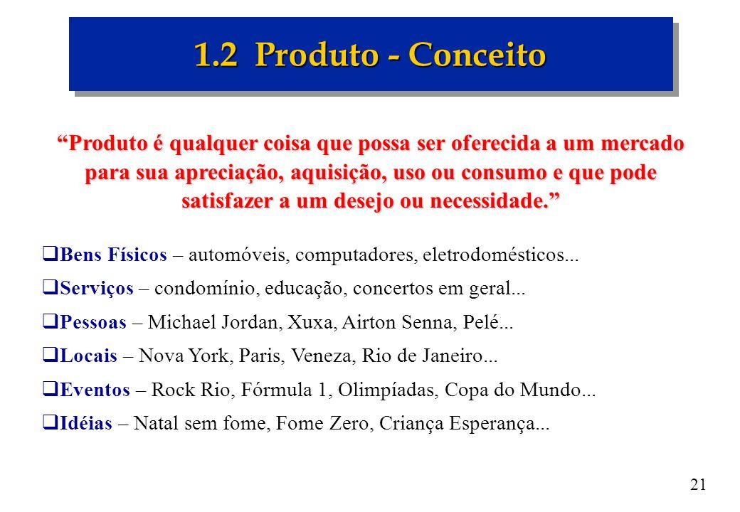 21 1.2 Produto - Conceito Produto é qualquer coisa que possa ser oferecida a um mercado para sua apreciação, aquisição, uso ou consumo e que pode sati