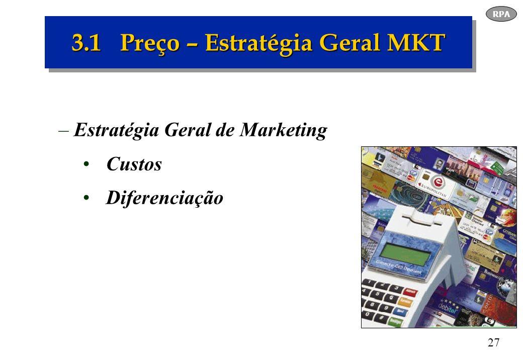 27 3.1 Preço – Estratégia Geral MKT –Estratégia Geral de Marketing Custos Diferenciação RPA