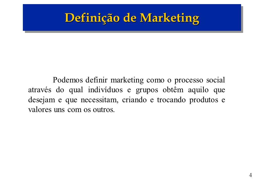 4 Podemos definir marketing como o processo social através do qual indivíduos e grupos obtêm aquilo que desejam e que necessitam, criando e trocando p
