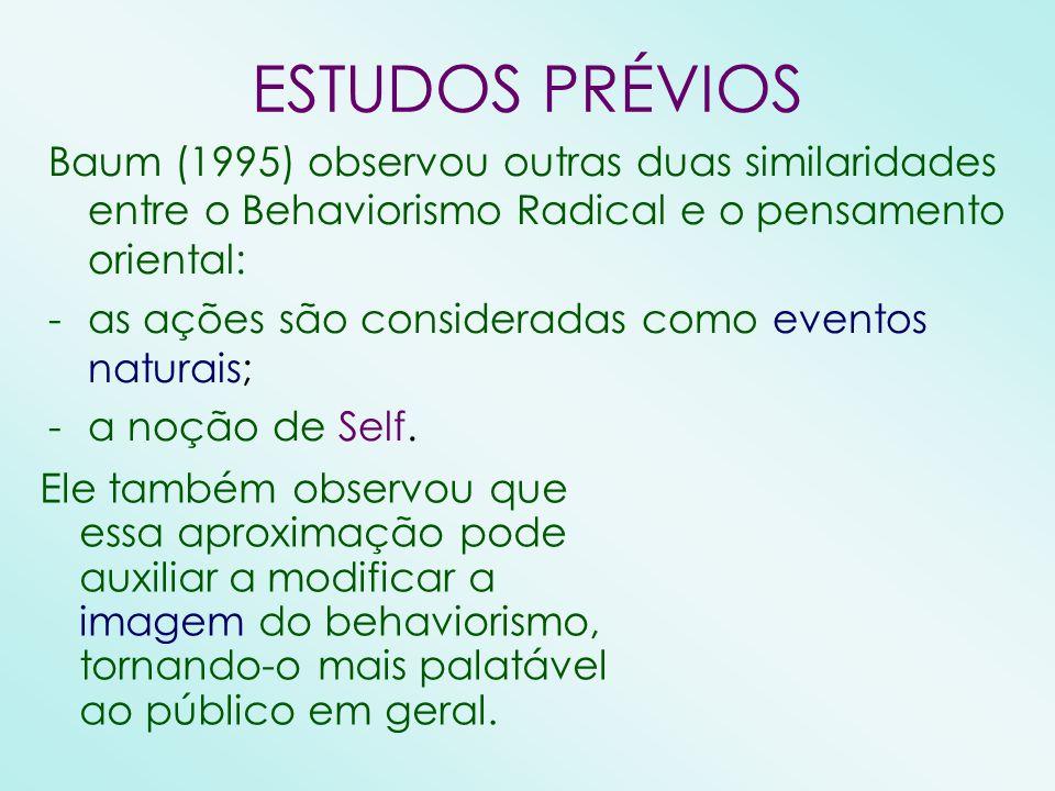 ESTUDOS PRÉVIOS Baum (1995) observou outras duas similaridades entre o Behaviorismo Radical e o pensamento oriental: -as ações são consideradas como e