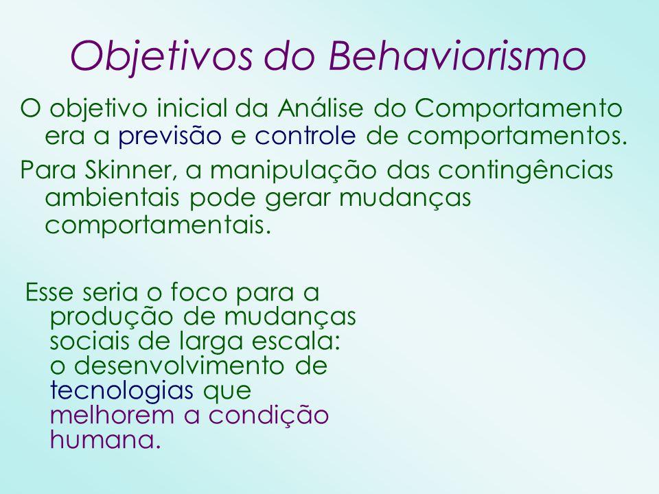 Objetivos do Behaviorismo O objetivo inicial da Análise do Comportamento era a previsão e controle de comportamentos. Para Skinner, a manipulação das