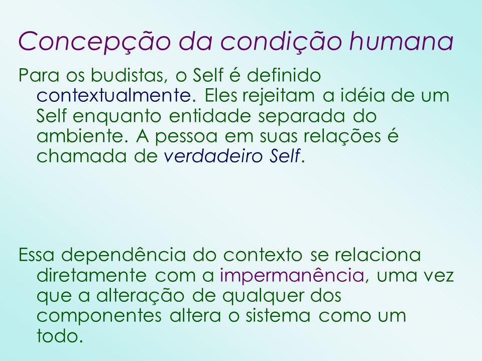 Concepção da condição humana Para os budistas, o Self é definido contextualmente. Eles rejeitam a idéia de um Self enquanto entidade separada do ambie