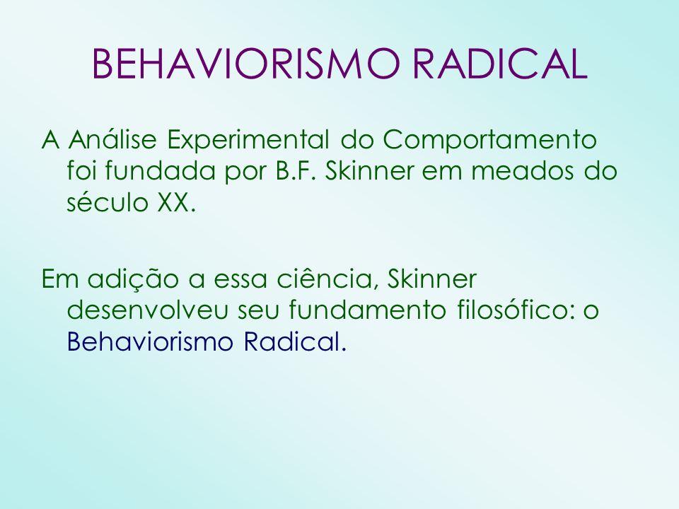 BEHAVIORISMO RADICAL A Análise Experimental do Comportamento foi fundada por B.F. Skinner em meados do século XX. Em adição a essa ciência, Skinner de