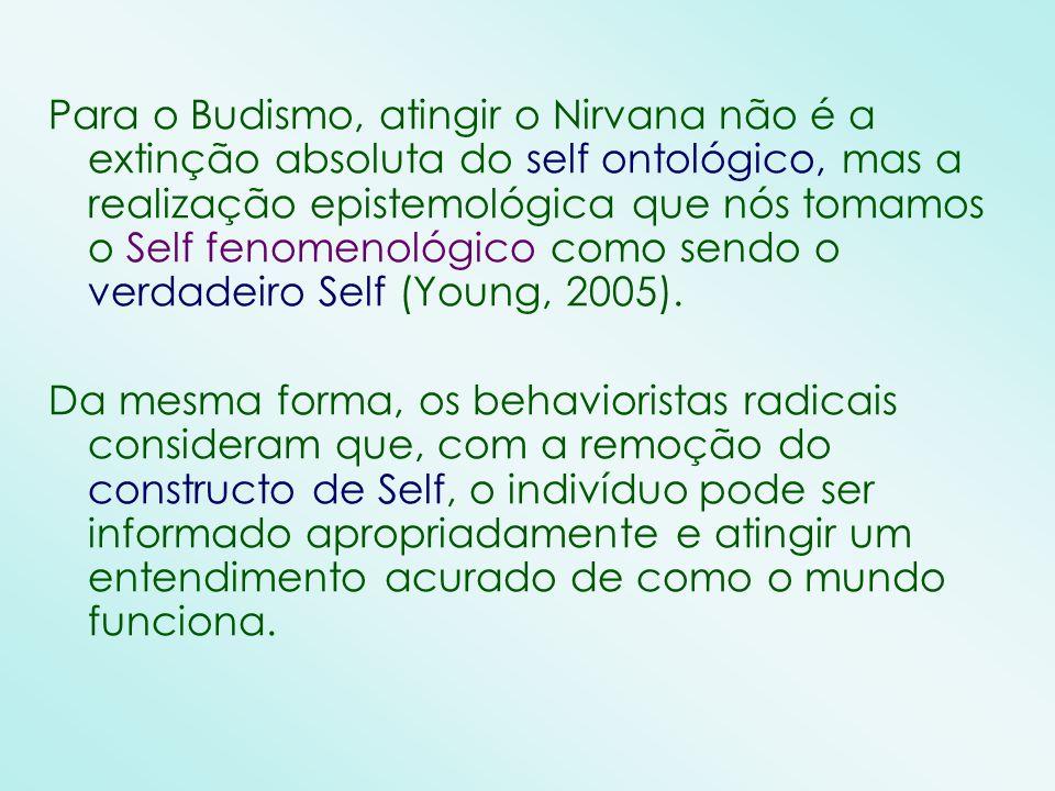 Para o Budismo, atingir o Nirvana não é a extinção absoluta do self ontológico, mas a realização epistemológica que nós tomamos o Self fenomenológico