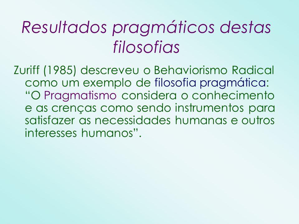 Zuriff (1985) descreveu o Behaviorismo Radical como um exemplo de filosofia pragmática: O Pragmatismo considera o conhecimento e as crenças como sendo