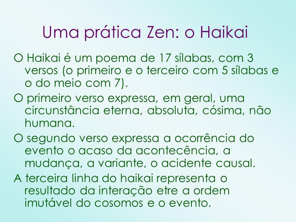 O Haikai é um poema de 17 sílabas, com 3 versos (o primeiro e o terceiro com 5 sílabas e o do meio com 7). O primeiro verso expressa, em geral, uma ci