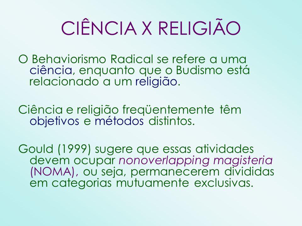 CIÊNCIA X RELIGIÃO O Behaviorismo Radical se refere a uma ciência, enquanto que o Budismo está relacionado a um religião. Ciência e religião freqüente
