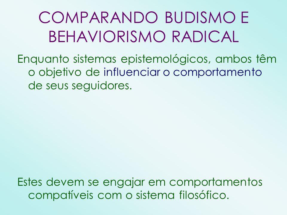 COMPARANDO BUDISMO E BEHAVIORISMO RADICAL Enquanto sistemas epistemológicos, ambos têm o objetivo de influenciar o comportamento de seus seguidores. E