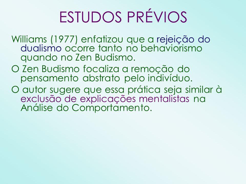 ESTUDOS PRÉVIOS Williams (1977) enfatizou que a rejeição do dualismo ocorre tanto no behaviorismo quando no Zen Budismo. O Zen Budismo focaliza a remo