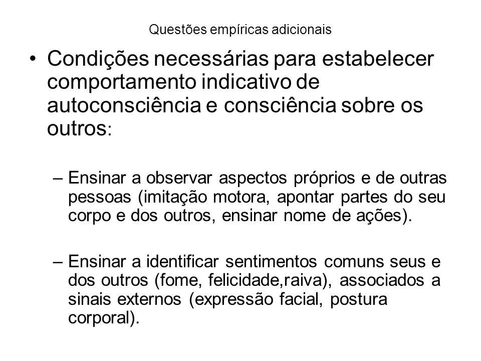 Questões empíricas adicionais Condições necessárias para estabelecer comportamento indicativo de autoconsciência e consciência sobre os outros : –Ensi