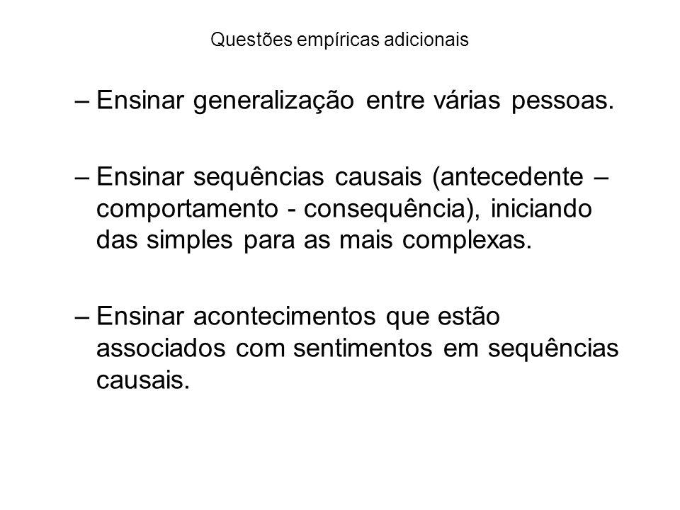 Questões empíricas adicionais –Ensinar generalização entre várias pessoas. –Ensinar sequências causais (antecedente – comportamento - consequência), i