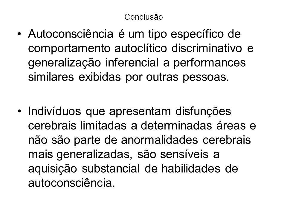 Conclusão Autoconsciência é um tipo específico de comportamento autoclítico discriminativo e generalização inferencial a performances similares exibidas por outras pessoas.