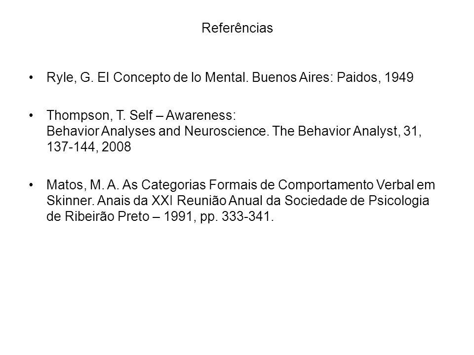 Referências Ryle, G. El Concepto de lo Mental. Buenos Aires: Paidos, 1949 Thompson, T. Self – Awareness: Behavior Analyses and Neuroscience. The Behav