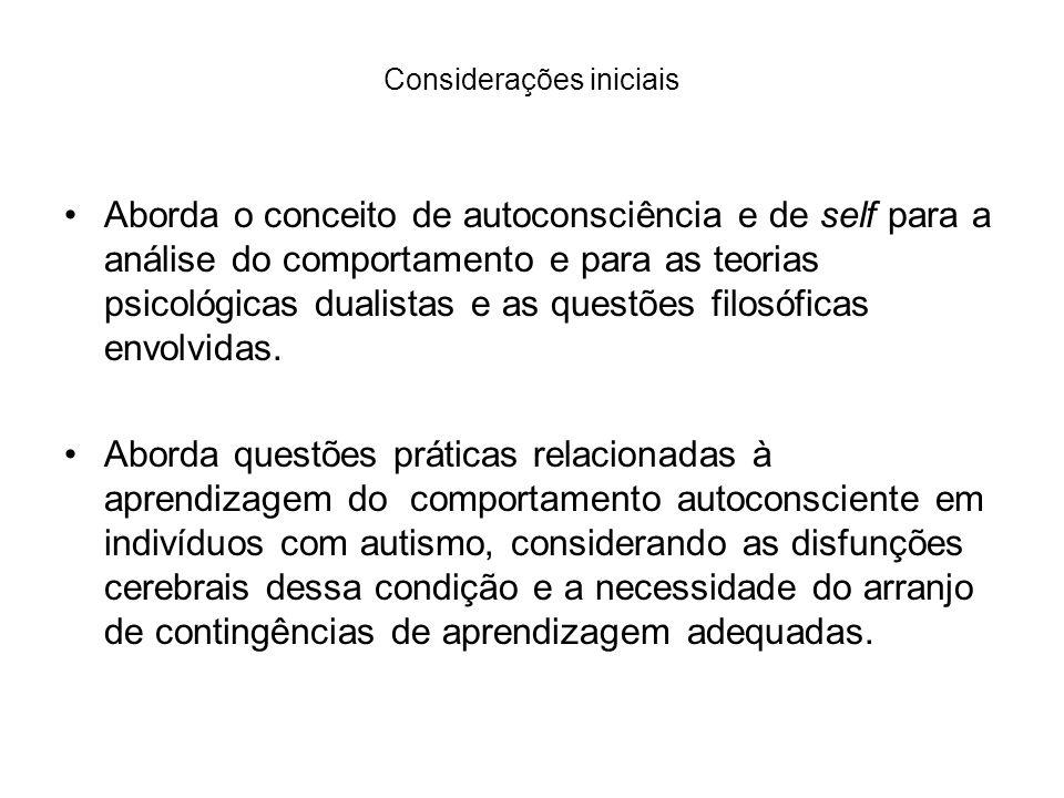 Considerações iniciais Aborda o conceito de autoconsciência e de self para a análise do comportamento e para as teorias psicológicas dualistas e as qu