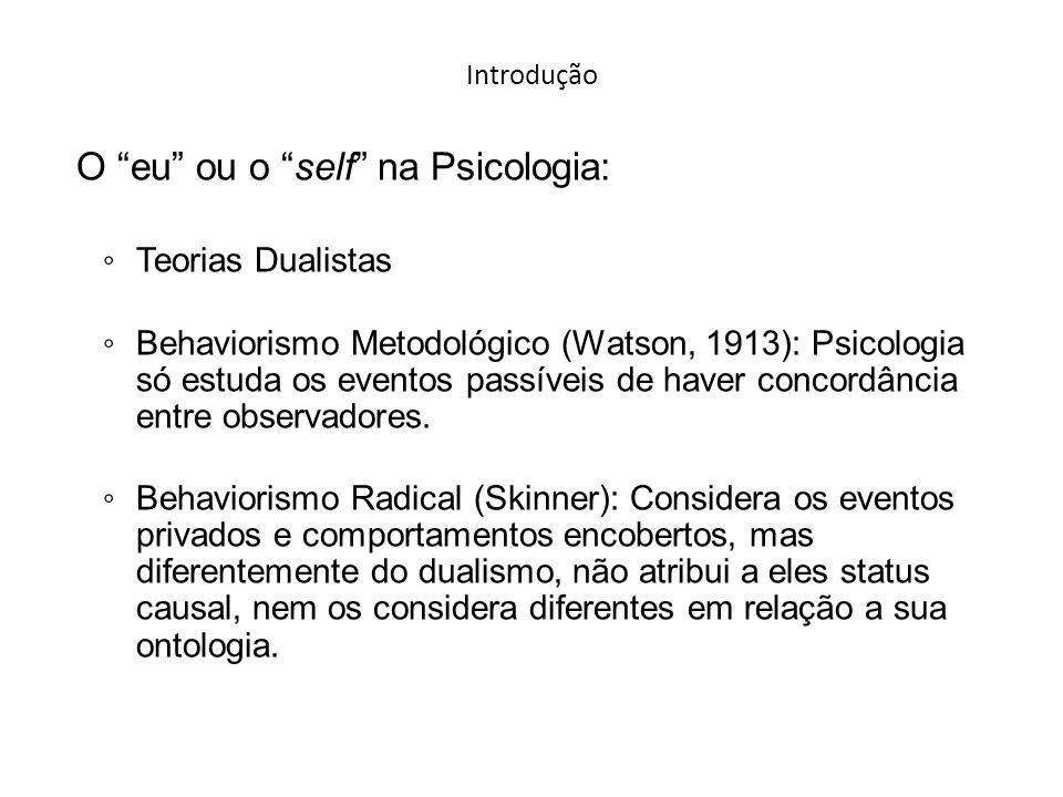 Introdução O eu ou o self na Psicologia: Teorias Dualistas Behaviorismo Metodológico (Watson, 1913): Psicologia só estuda os eventos passíveis de haver concordância entre observadores.