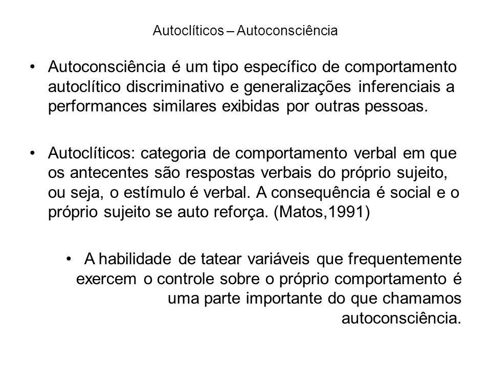 Autoclíticos – Autoconsciência Autoconsciência é um tipo específico de comportamento autoclítico discriminativo e generalizações inferenciais a performances similares exibidas por outras pessoas.