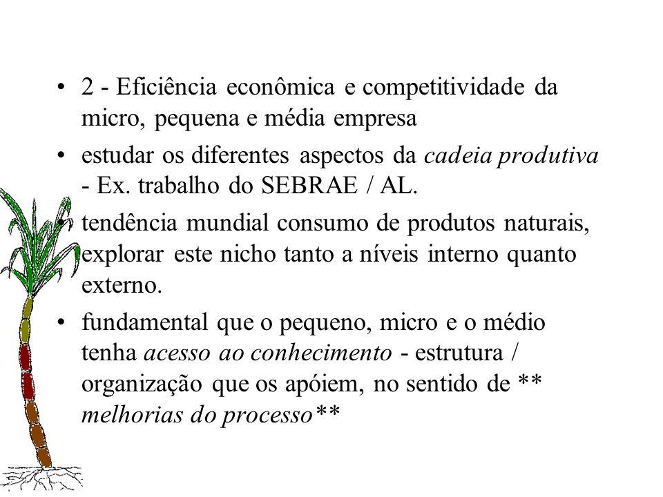2 - Eficiência econômica e competitividade da micro, pequena e média empresa estudar os diferentes aspectos da cadeia produtiva - Ex. trabalho do SEBR