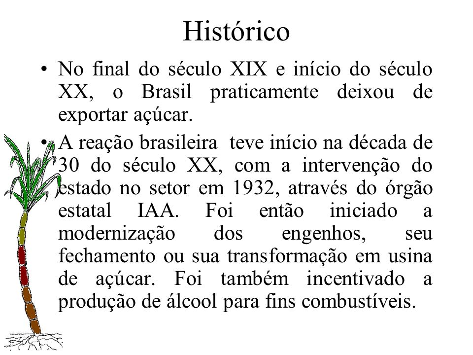 Histórico No final do século XIX e início do século XX, o Brasil praticamente deixou de exportar açúcar. A reação brasileira teve início na década de