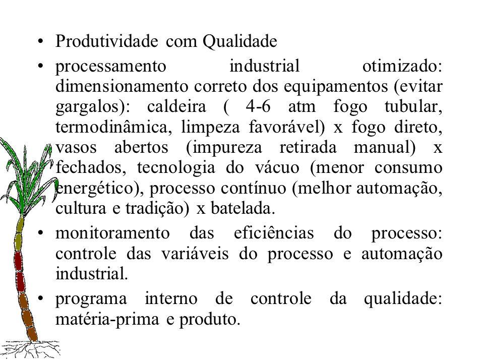Produtividade com Qualidade processamento industrial otimizado: dimensionamento correto dos equipamentos (evitar gargalos): caldeira ( 4-6 atm fogo tu