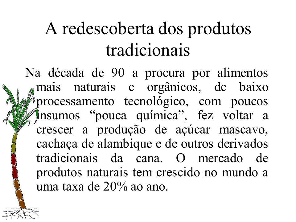 A redescoberta dos produtos tradicionais Na década de 90 a procura por alimentos mais naturais e orgânicos, de baixo processamento tecnológico, com po