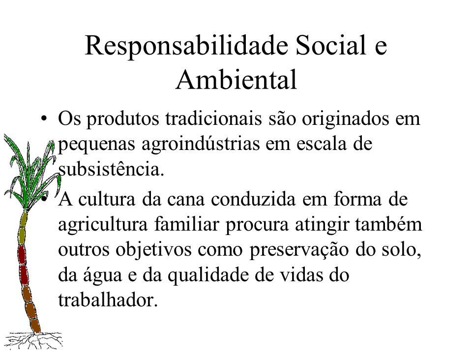 Responsabilidade Social e Ambiental Os produtos tradicionais são originados em pequenas agroindústrias em escala de subsistência. A cultura da cana co