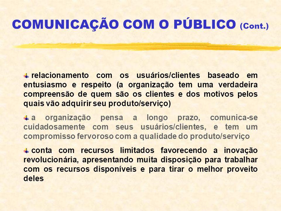 COMUNICAÇÃO COM O PÚBLICO (Cont.) relacionamento com os usuários/clientes baseado em entusiasmo e respeito (a organização tem uma verdadeira compreens