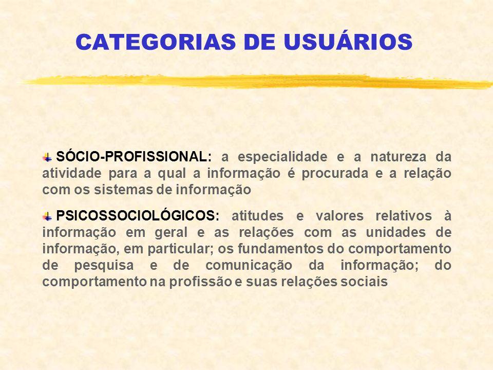 CATEGORIAS DE USUÁRIOS SÓCIO-PROFISSIONAL: a especialidade e a natureza da atividade para a qual a informação é procurada e a relação com os sistemas