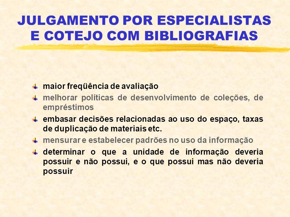 JULGAMENTO POR ESPECIALISTAS E COTEJO COM BIBLIOGRAFIAS maior freqüência de avaliação melhorar políticas de desenvolvimento de coleções, de empréstimo