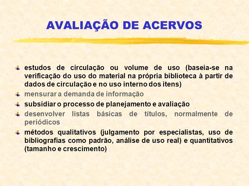 AVALIAÇÃO DE ACERVOS estudos de circulação ou volume de uso (baseia-se na verificação do uso do material na própria biblioteca à partir de dados de ci
