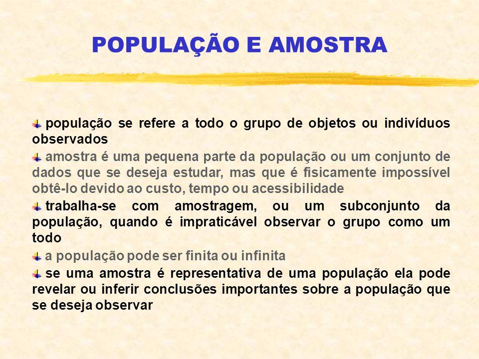 POPULAÇÃO E AMOSTRA população se refere a todo o grupo de objetos ou indivíduos observados amostra é uma pequena parte da população ou um conjunto de