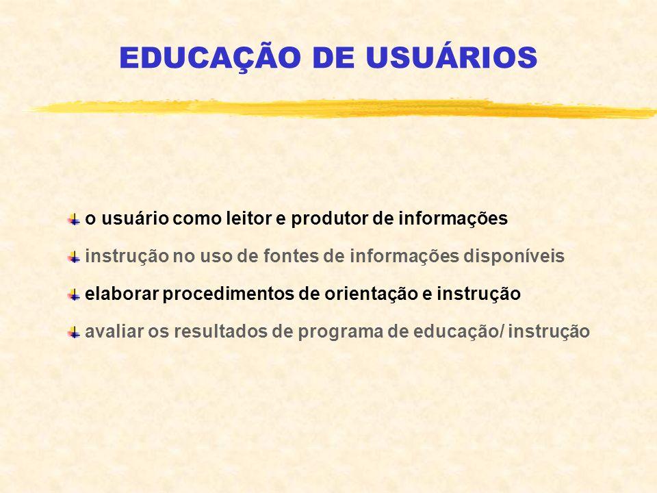 EDUCAÇÃO DE USUÁRIOS o usuário como leitor e produtor de informações instrução no uso de fontes de informações disponíveis elaborar procedimentos de o