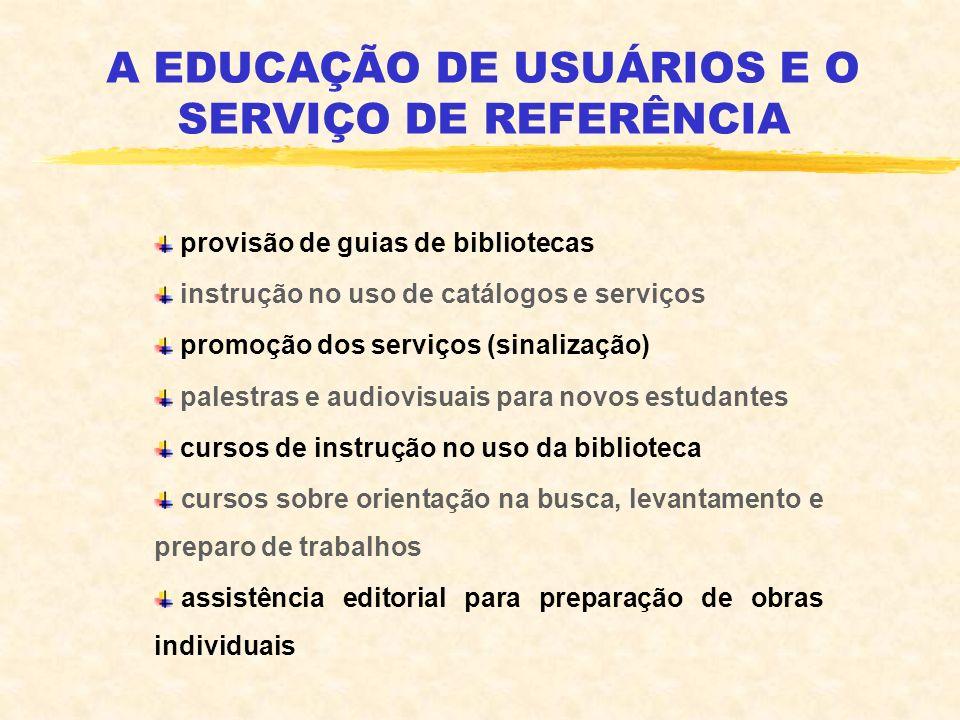 A EDUCAÇÃO DE USUÁRIOS E O SERVIÇO DE REFERÊNCIA provisão de guias de bibliotecas instrução no uso de catálogos e serviços promoção dos serviços (sina