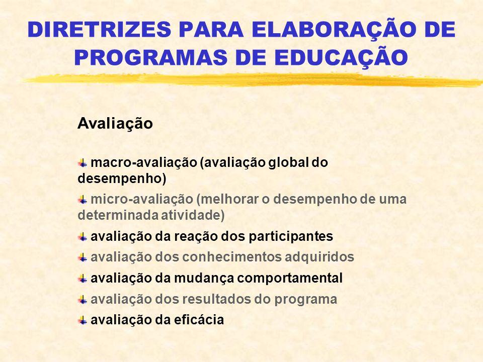 DIRETRIZES PARA ELABORAÇÃO DE PROGRAMAS DE EDUCAÇÃO Avaliação macro-avaliação (avaliação global do desempenho) micro-avaliação (melhorar o desempenho