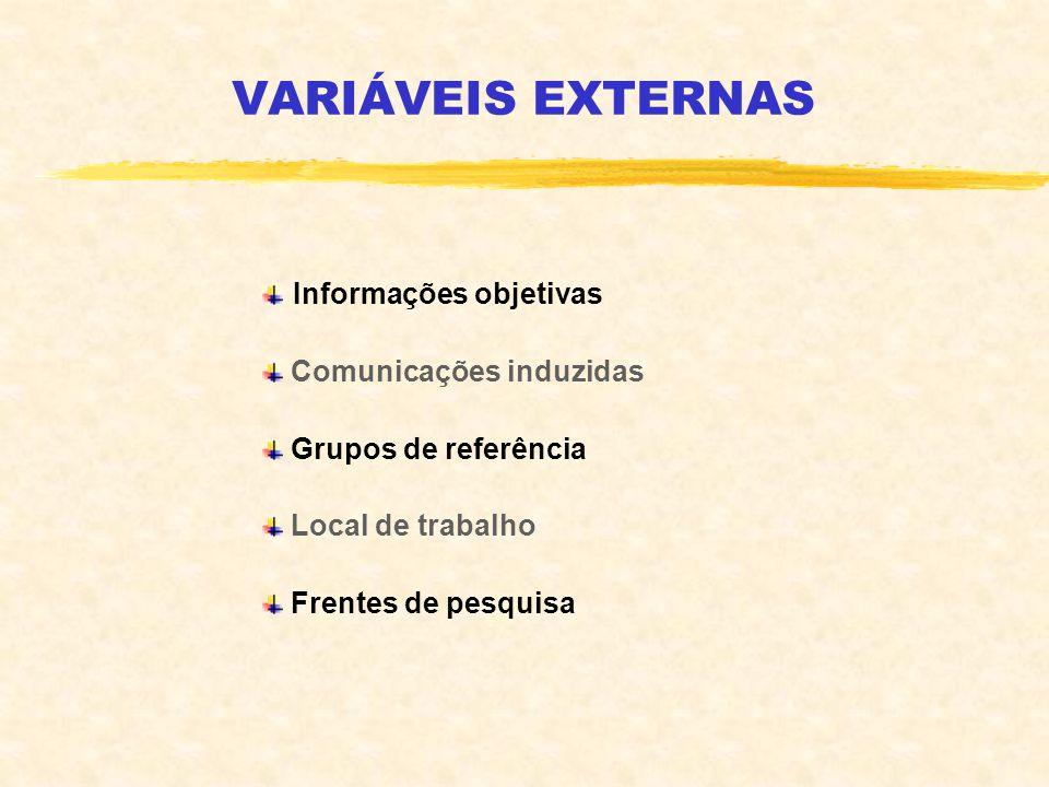VARIÁVEIS EXTERNAS Informações objetivas Comunicações induzidas Grupos de referência Local de trabalho Frentes de pesquisa