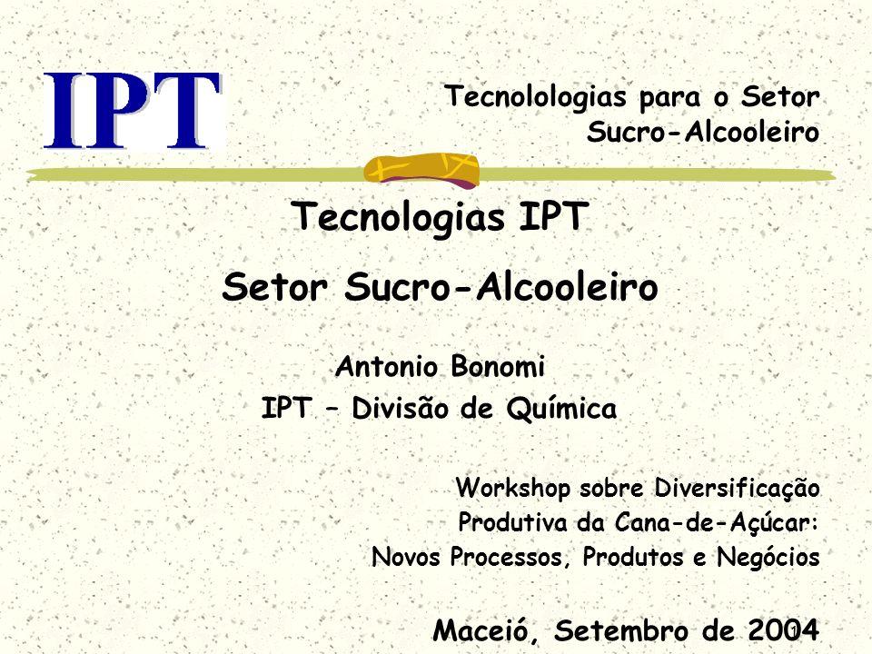 1 Tecnolologias para o Setor Sucro-Alcooleiro Tecnologias IPT Setor Sucro-Alcooleiro Antonio Bonomi IPT – Divisão de Química Workshop sobre Diversific