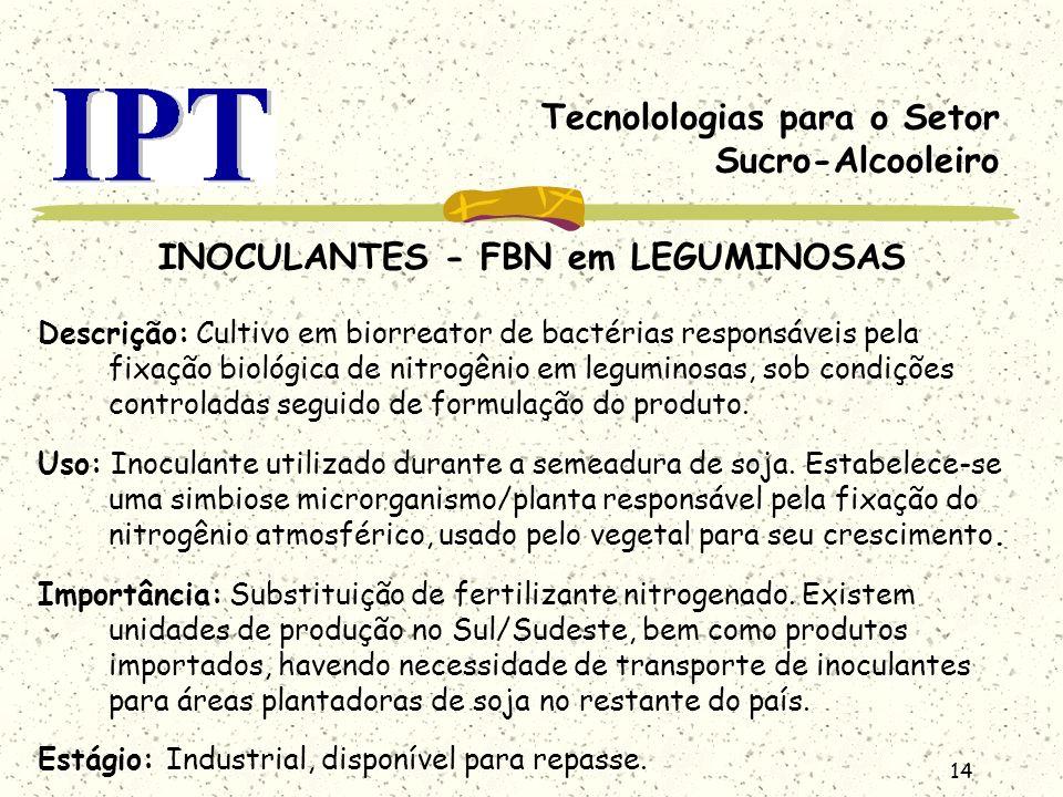 14 Tecnolologias para o Setor Sucro-Alcooleiro INOCULANTES - FBN em LEGUMINOSAS Descrição: Cultivo em biorreator de bactérias responsáveis pela fixaçã