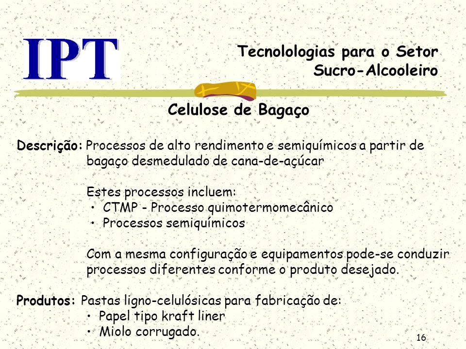 16 Tecnolologias para o Setor Sucro-Alcooleiro Celulose de Bagaço Descrição: Processos de alto rendimento e semiquímicos a partir de bagaço desmedulad