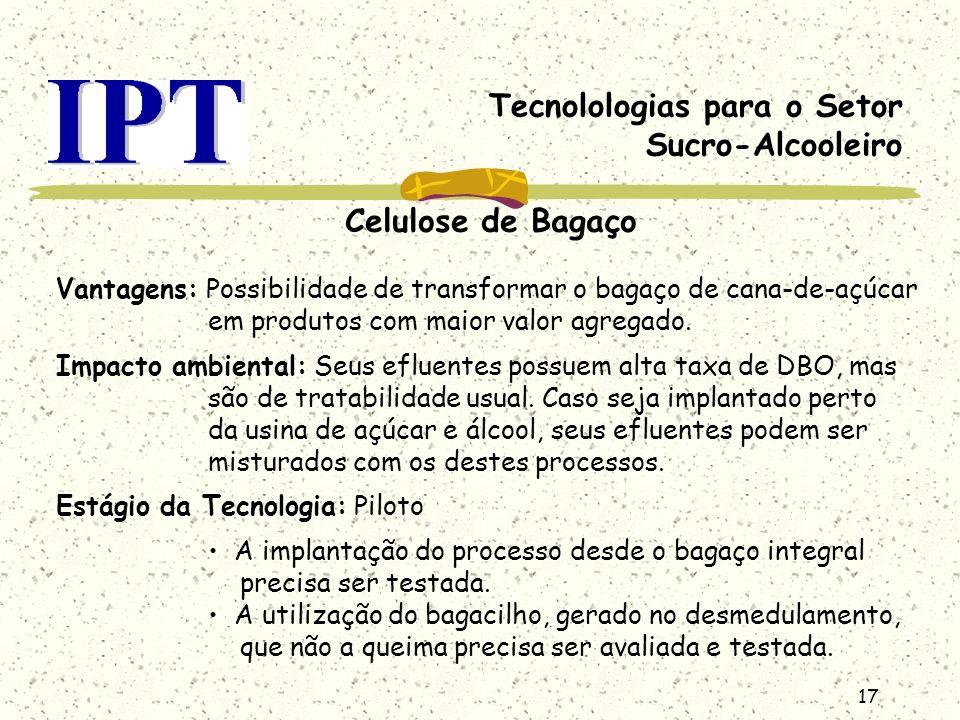 17 Tecnolologias para o Setor Sucro-Alcooleiro Celulose de Bagaço Vantagens: Possibilidade de transformar o bagaço de cana-de-açúcar em produtos com m