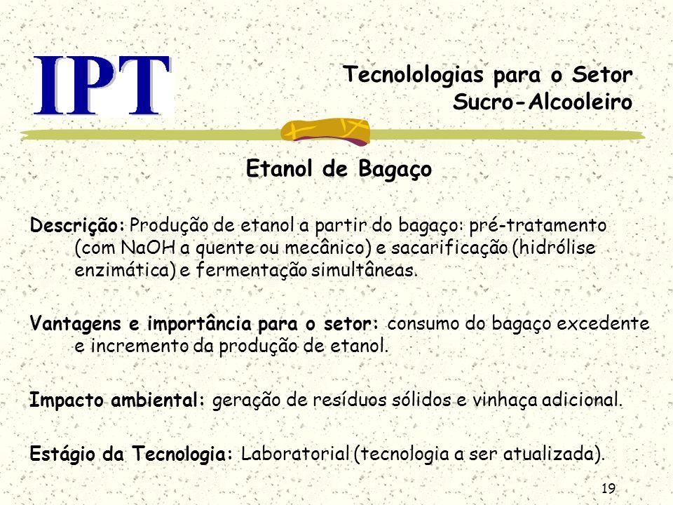 19 Tecnolologias para o Setor Sucro-Alcooleiro Etanol de Bagaço Descrição: Produção de etanol a partir do bagaço: pré-tratamento (com NaOH a quente ou