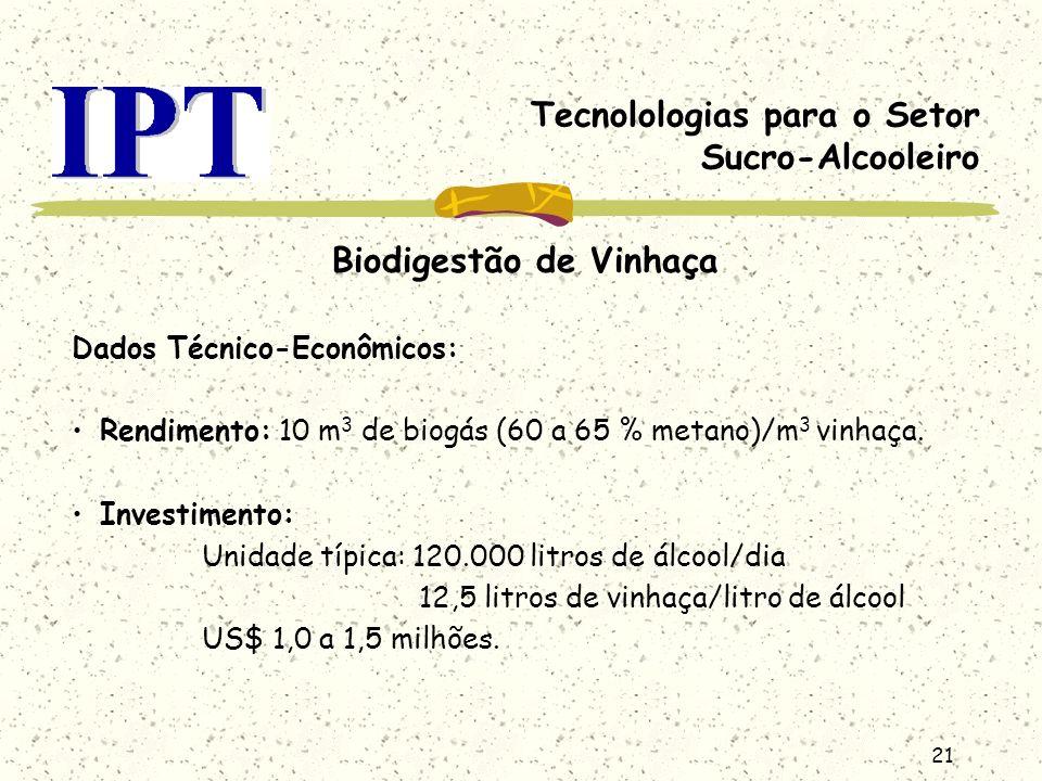 21 Tecnolologias para o Setor Sucro-Alcooleiro Biodigestão de Vinhaça Dados Técnico-Econômicos: Rendimento: 10 m 3 de biogás (60 a 65 % metano)/m 3 vi
